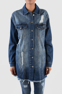 Oversized Long Denim Jacket