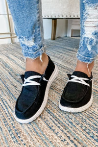 Black Canvas Boat Shoe