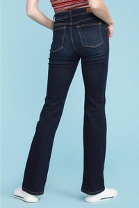 Whiskered Dark Boot Cut Jeans