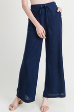 Navy Linen Wide Leg Pants