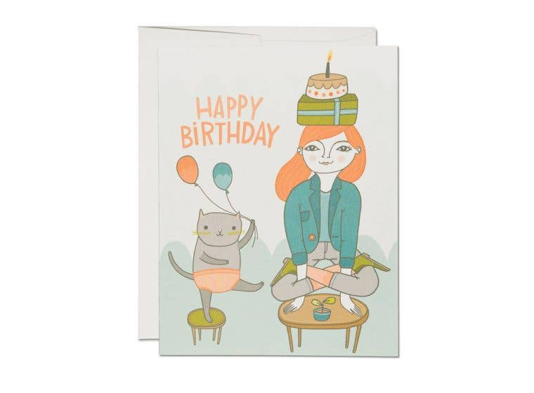 Red Cap Cards - Yoga Birthday