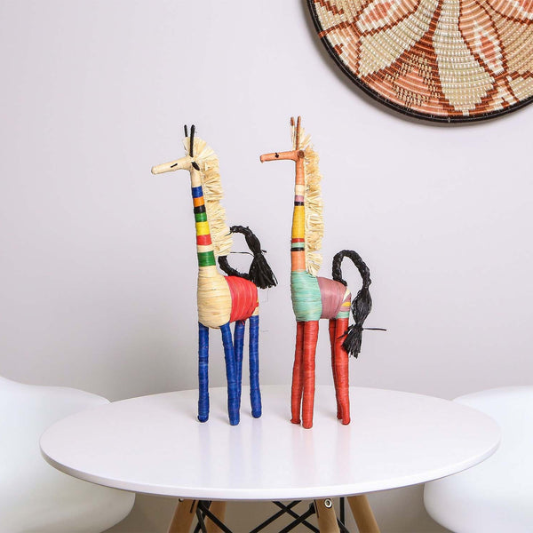 Colorful Raffia Giraffe