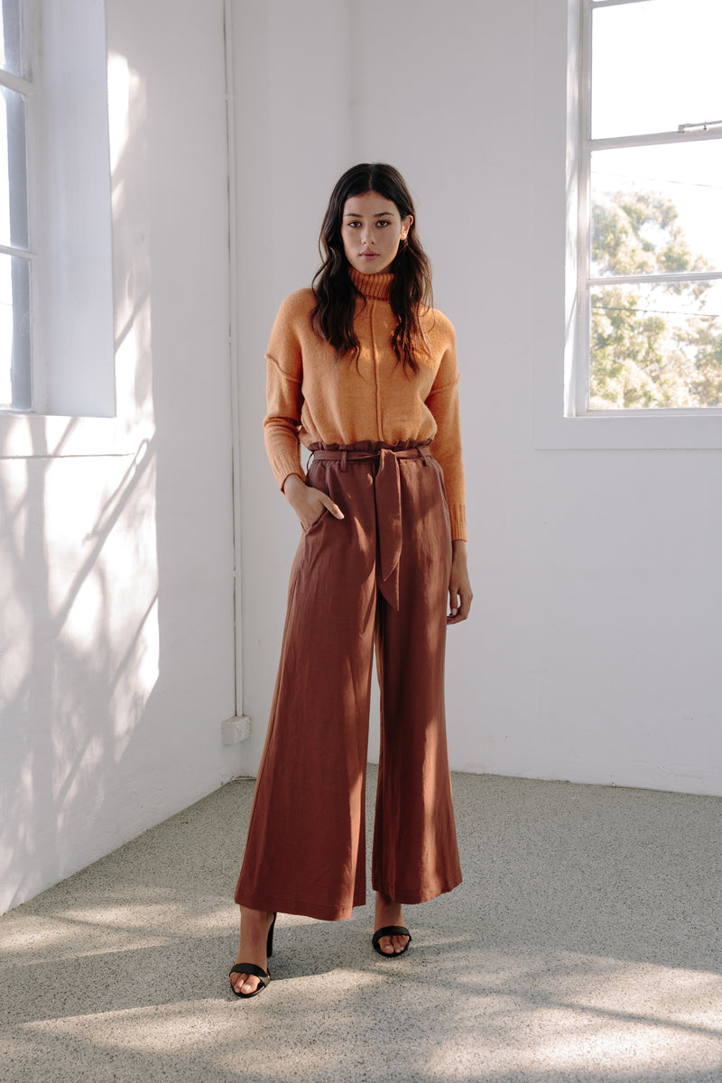 Wide Leg Pants Rust