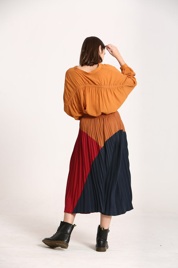 Tri Colored Pleated Skirt