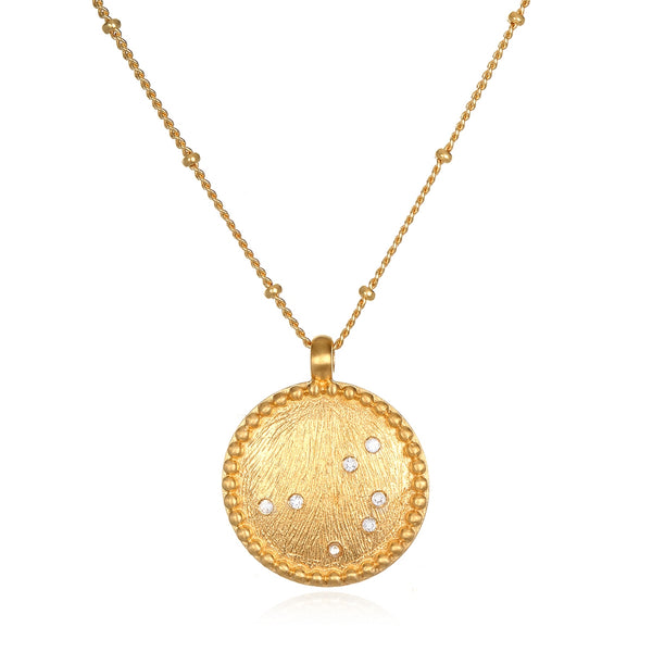 Strength White Topaz Gold Pleiades Necklace