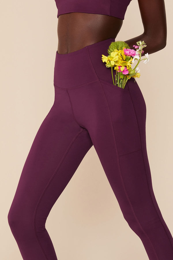 Plum Compressive High Rise Pocket Legging
