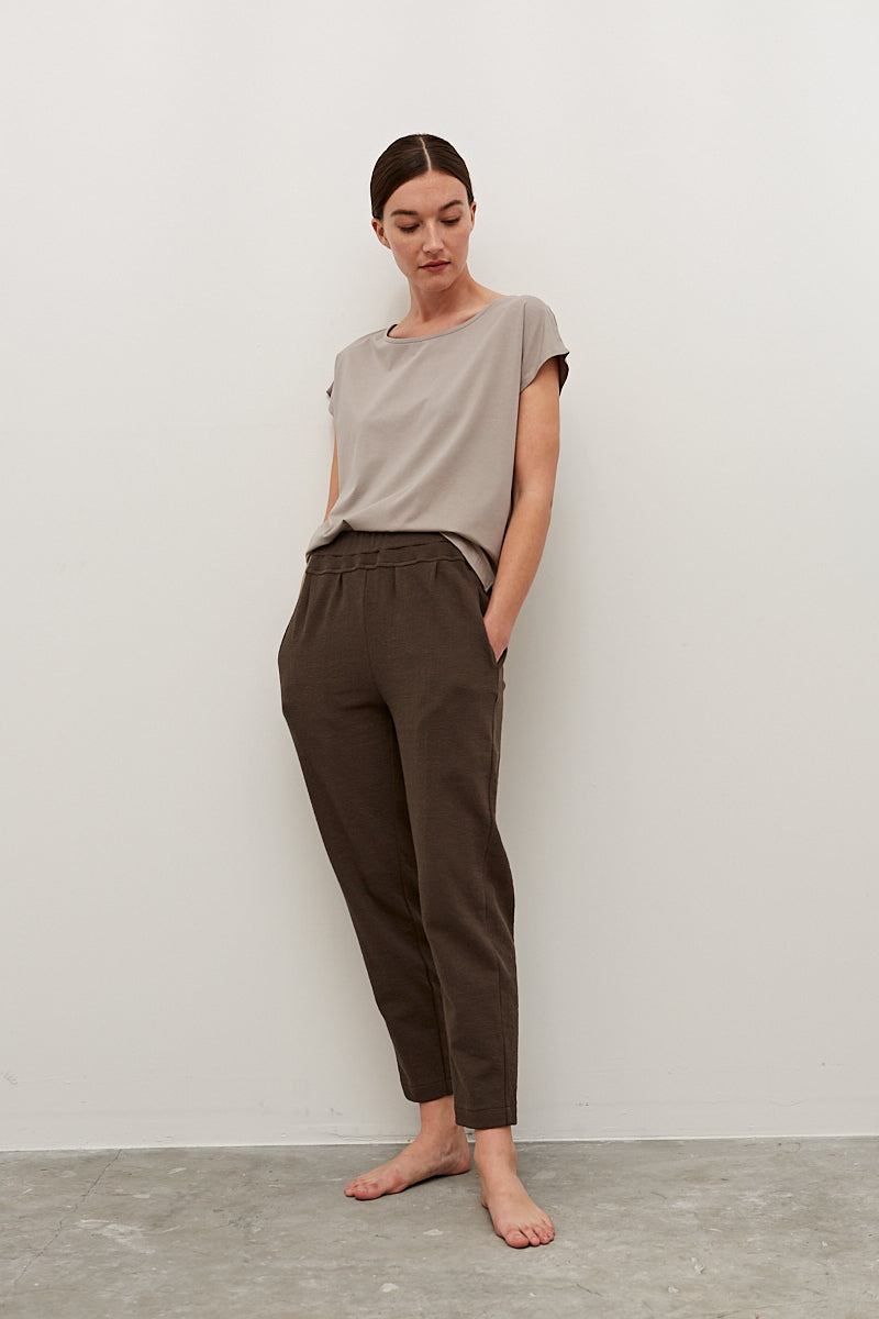 Tapered Knit Cotton Pant