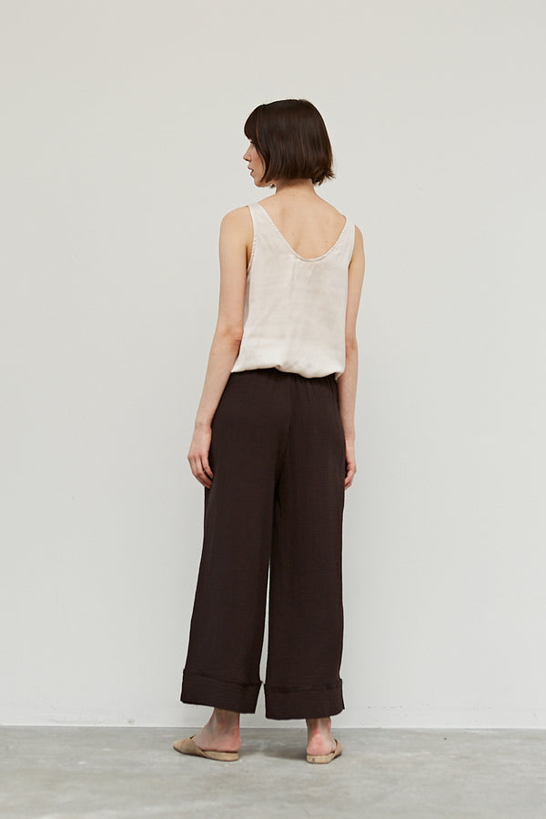 Black Coffee Gauze Easy Pant
