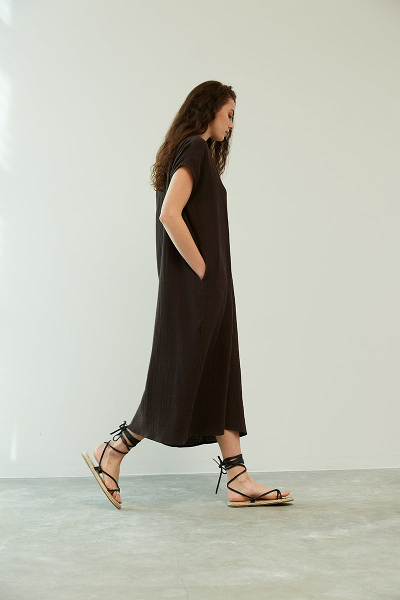 Everyday Gauze Column Dress- Black Coffee