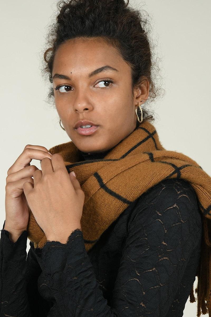 Camel Knitted Scarf