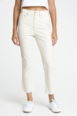 Shy Girl High Rise Crop Flare- Oatmeal