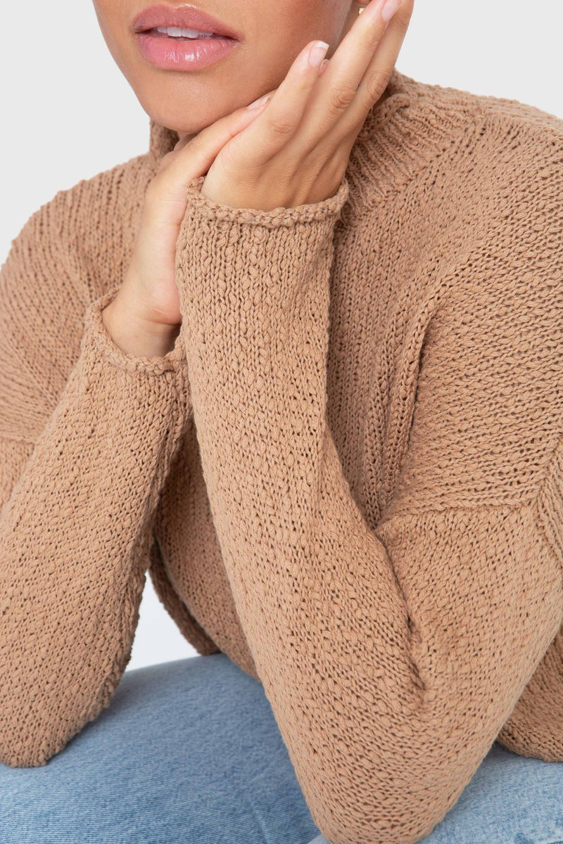 The Mock Neck Pullover-camel
