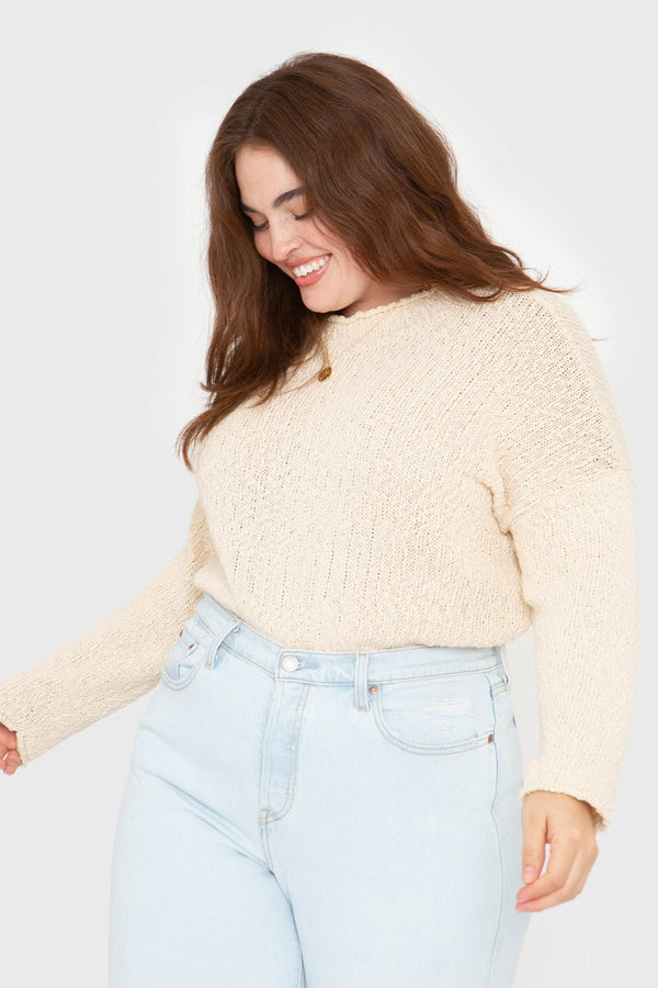The Mock Neck Pullover- Creme