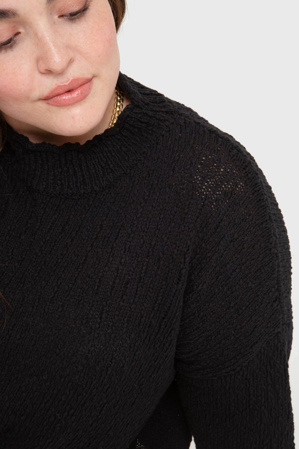 The Mock Neck Pullover- black