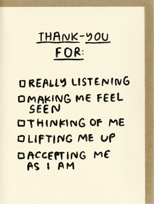 Thank You Check List Card