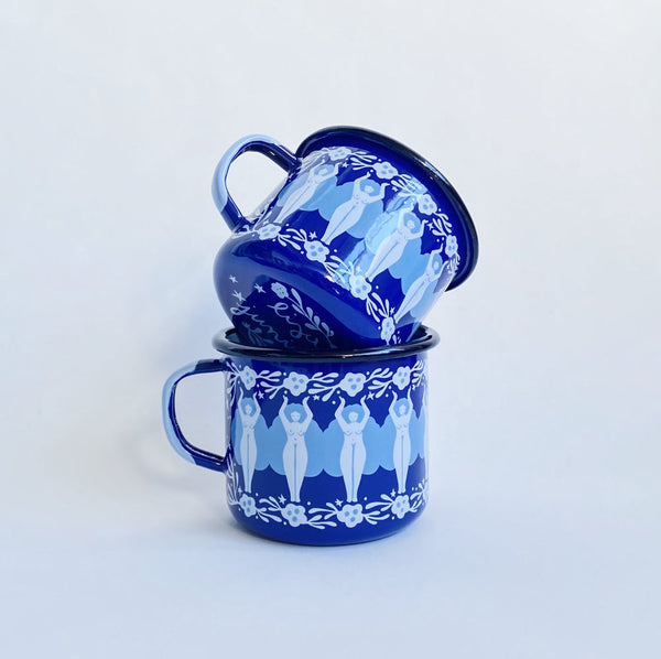 Folk Women Enamel Mug