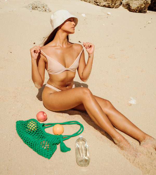 Florette Crochet Bucket Hat I Nude White
