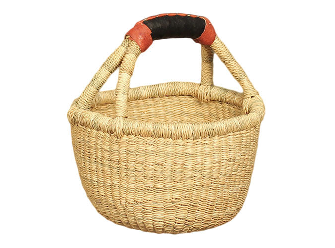 Mini Round Basket with leather handle