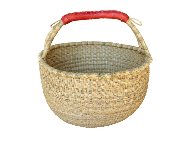 Large Round Basket With Leather Handles