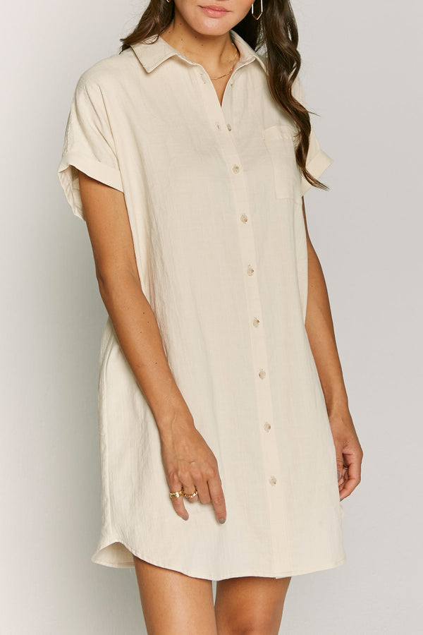 Soft Sand Jacob Shirt Dress