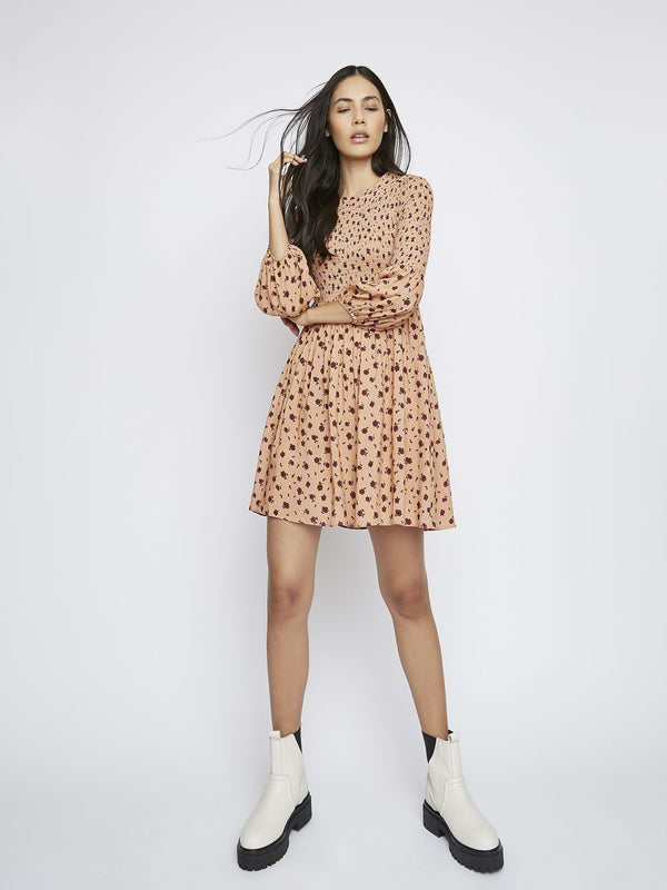 Peach Ditsy Floral Dress