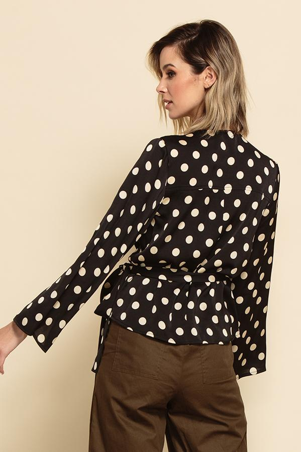 Ruth Trumpet Sleeve Wrap Blouse
