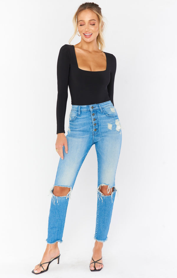 Soho Button Up Skinnies- Blue Bay