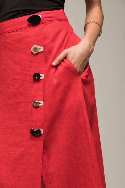 Buttoned Up Midi Skirt
