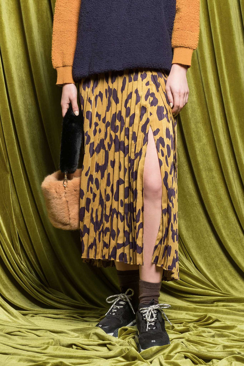 Leopard Accordion Midi Skirt