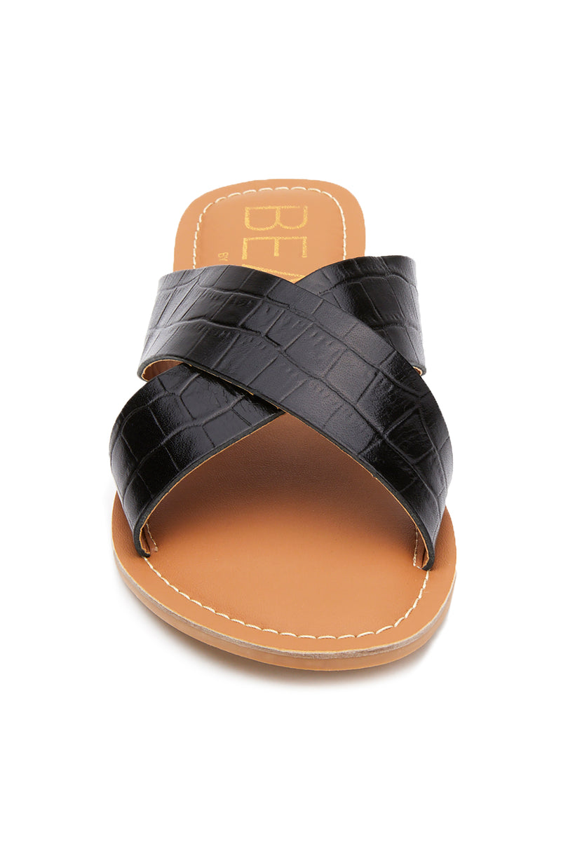 Pebble Sandal Black Croc