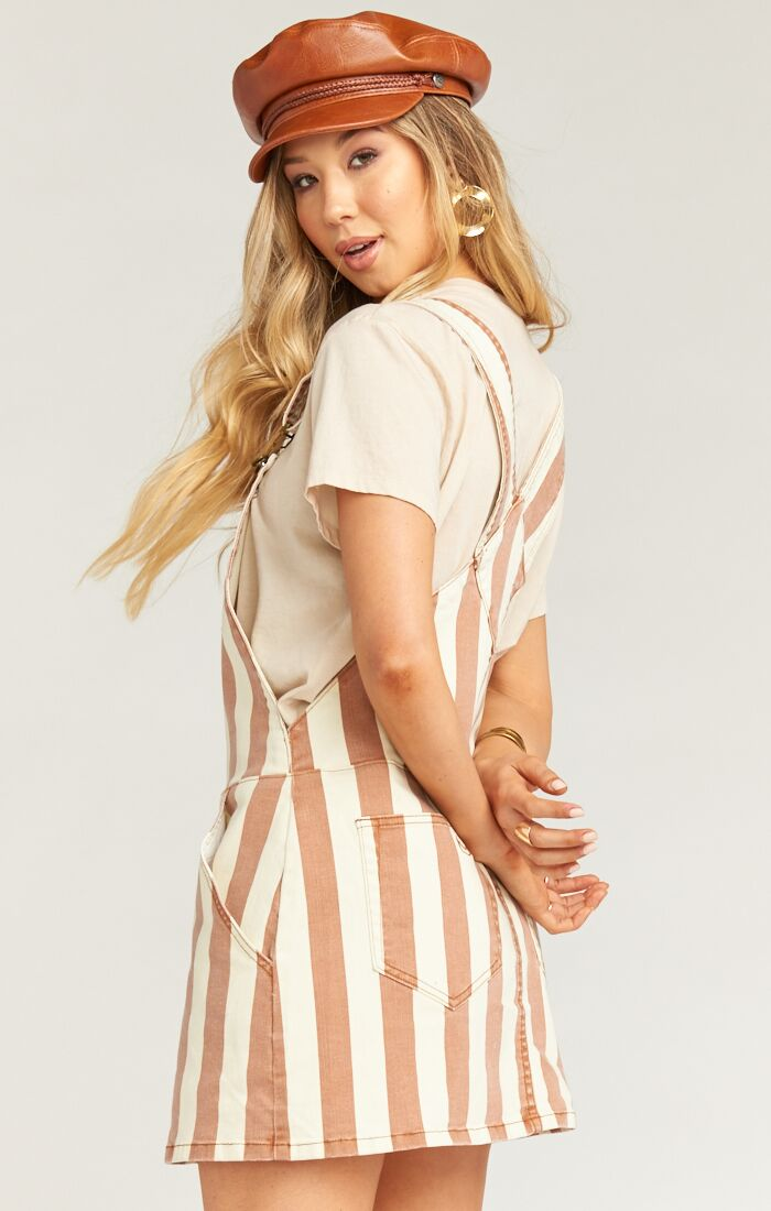 Julie Overall Dress- Cognac and Cream
