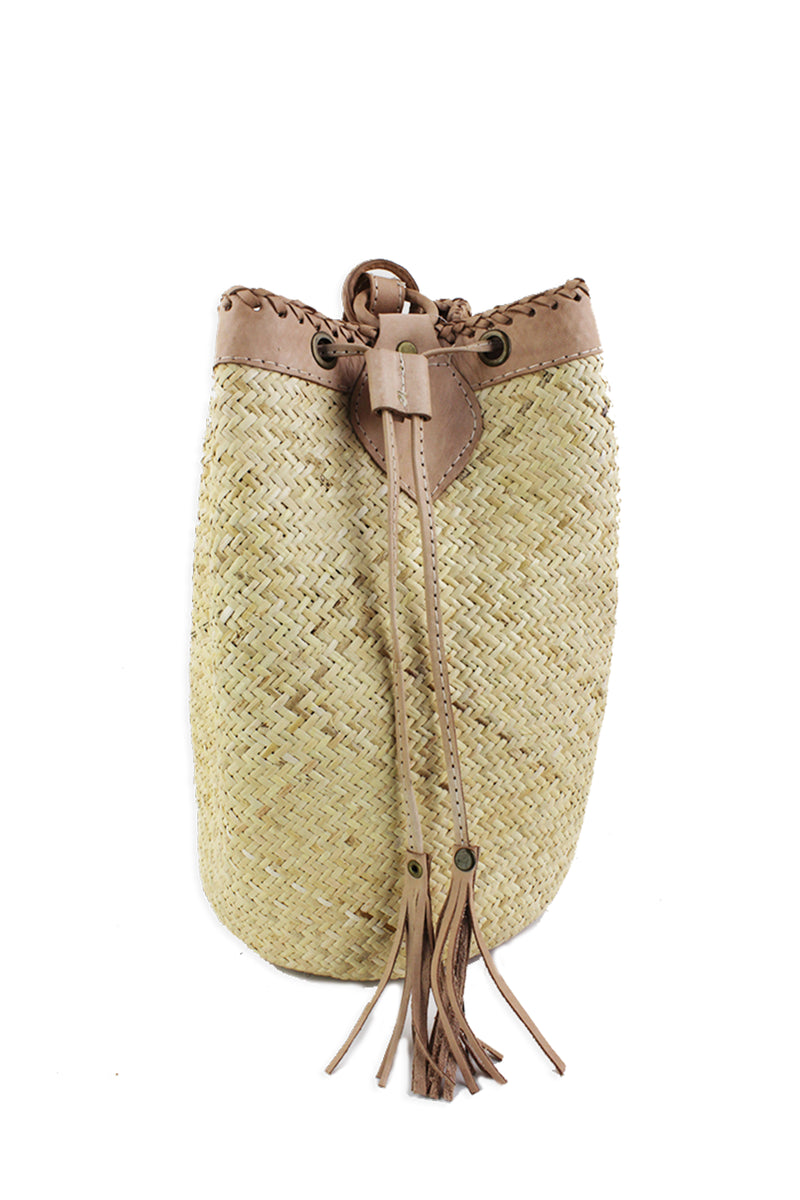 Woven Straw Backpack