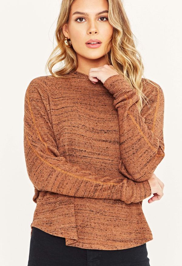 TRINITY MARLED MOCK LONG SLEEVE - GINGER