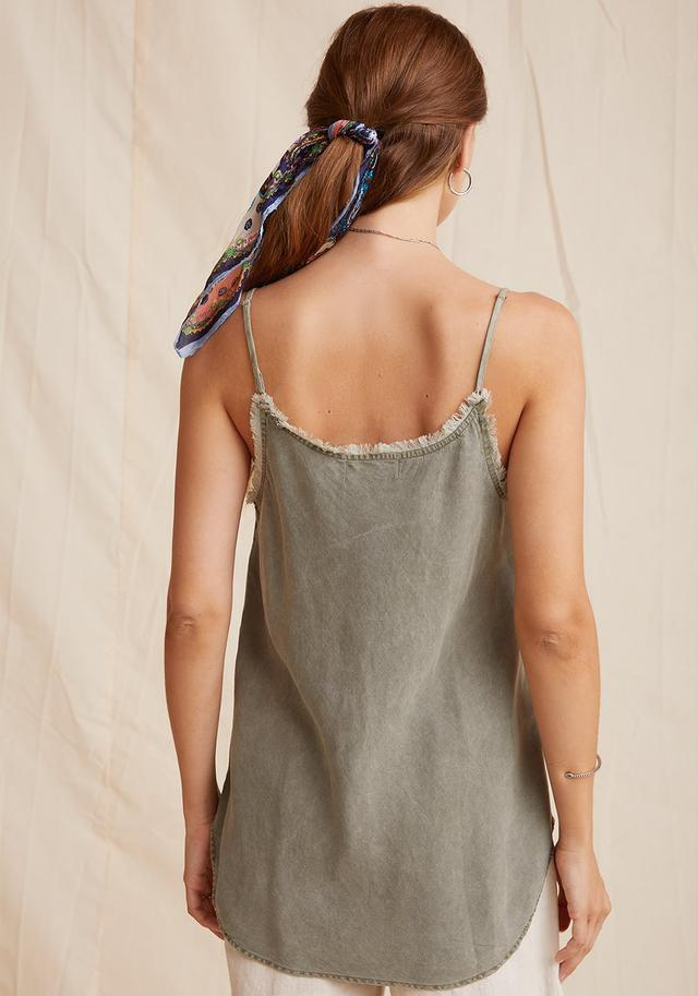 Frayed Edge Camisole- Soft Army