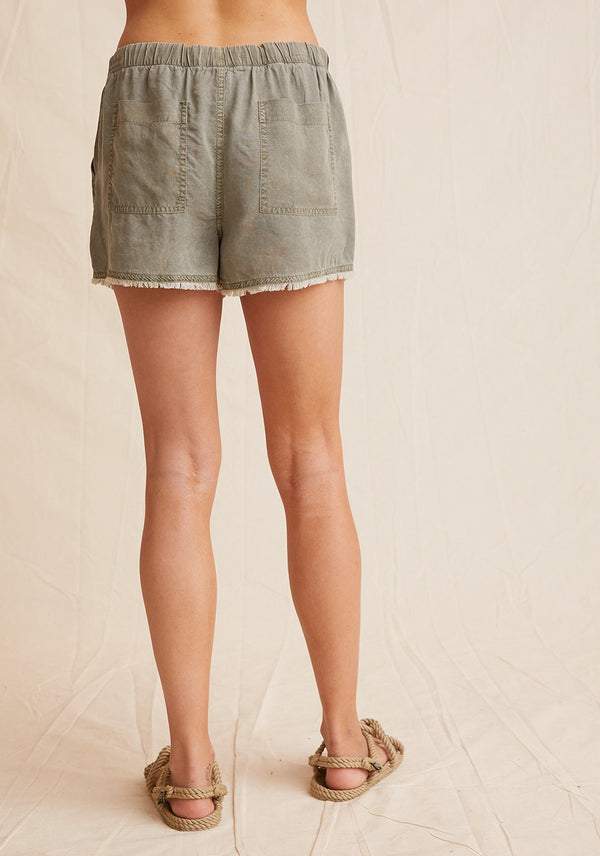 Frayed Hem Pocket Short- Soft Army
