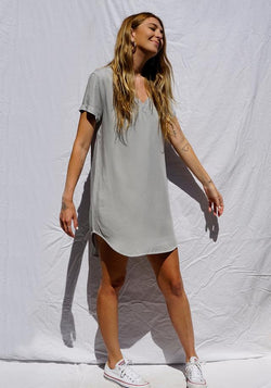 V-Neck Dress- Foggy Sky