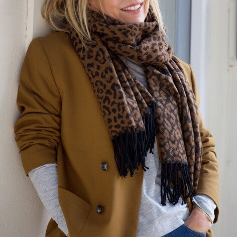 Animal Print Blanket Scarf