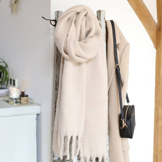 Light Beige Recycled Oversized Scarf