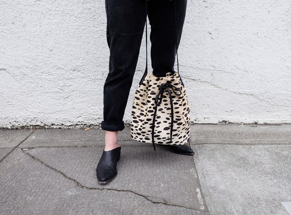 Spotted Cowhide Bucket Bag