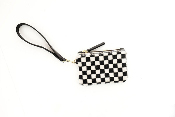 Cowhide Coin Pouch Checkered