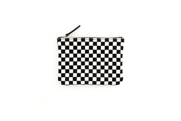 Cowhide Zipper Pouch Checkered