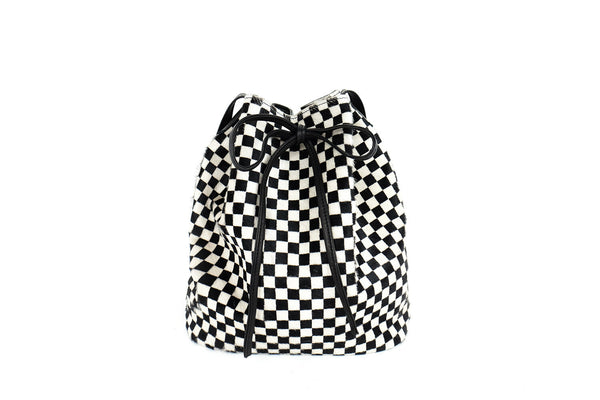 Checkered Bucket Bag