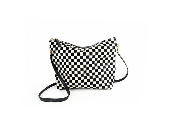 Cowhide Mini Hobo Checkered