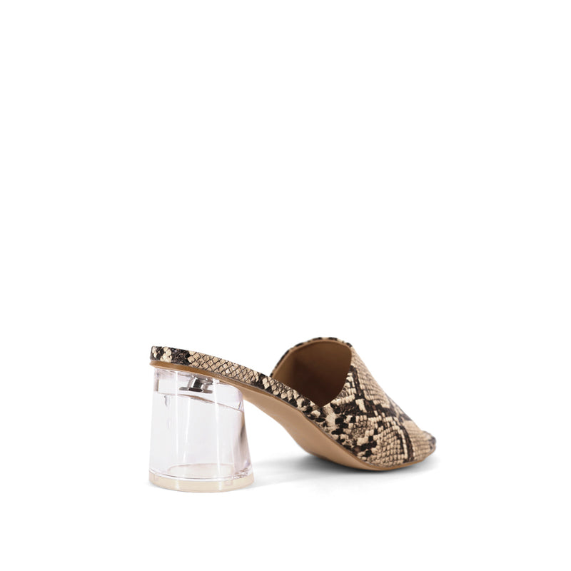 Clear Block Heel Mules