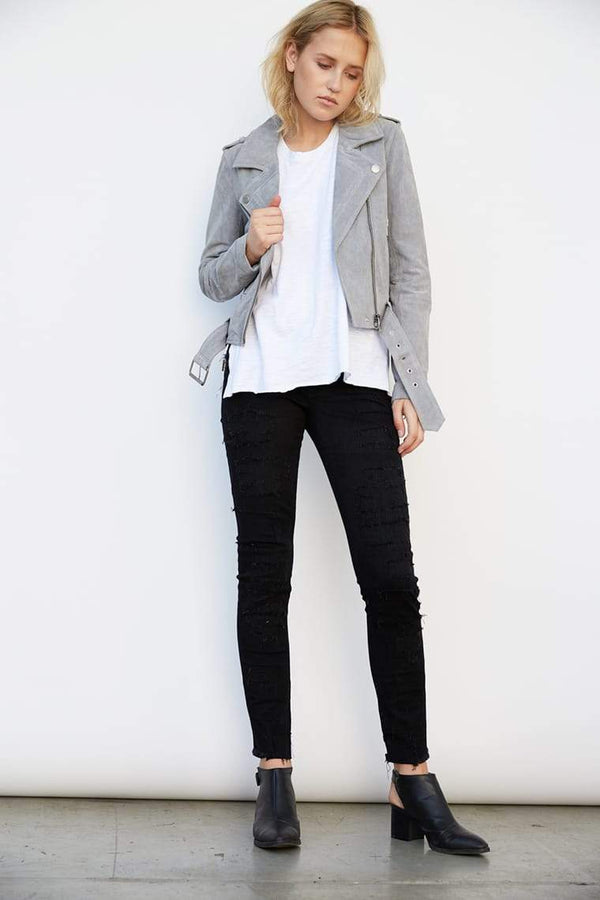 Cloud Grey Suede Moto Jacket