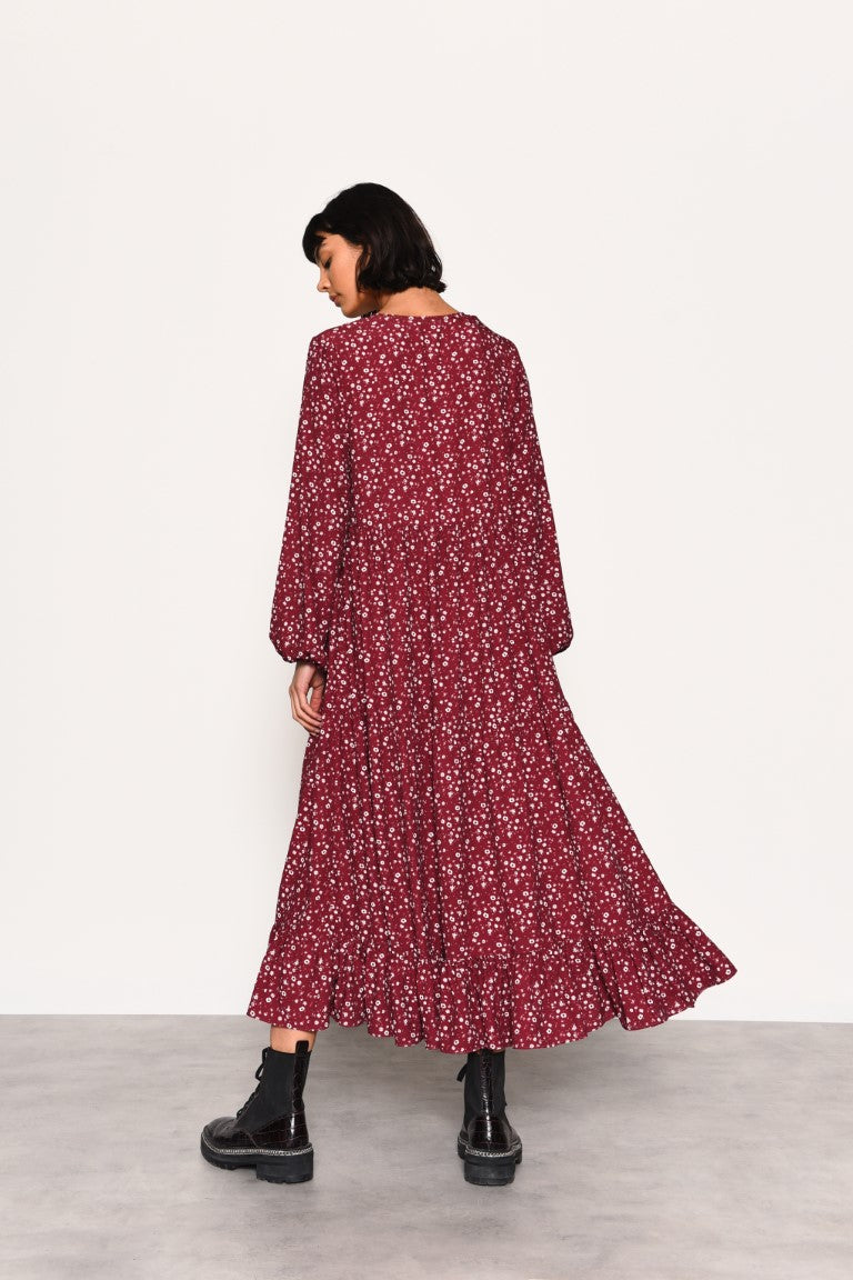 Maroon Ditsy Dress