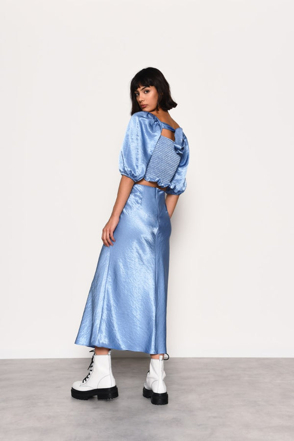 Blue Satin Skirt