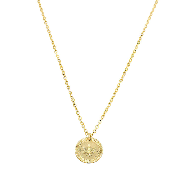 Pot Leaf Coin Necklace