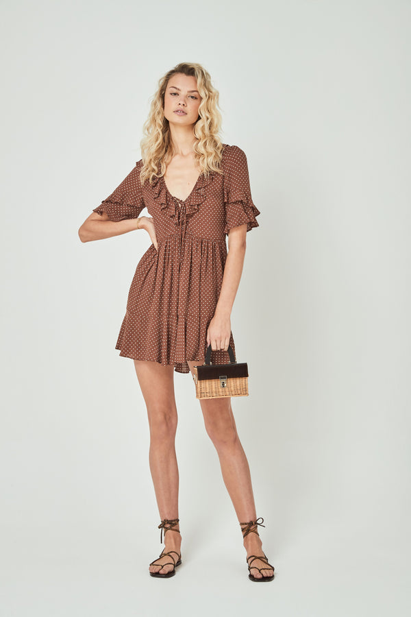 Collins Frida Mini Dress Brown