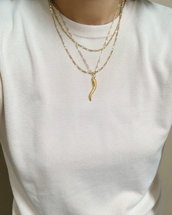Dainty Italian Horn Necklace